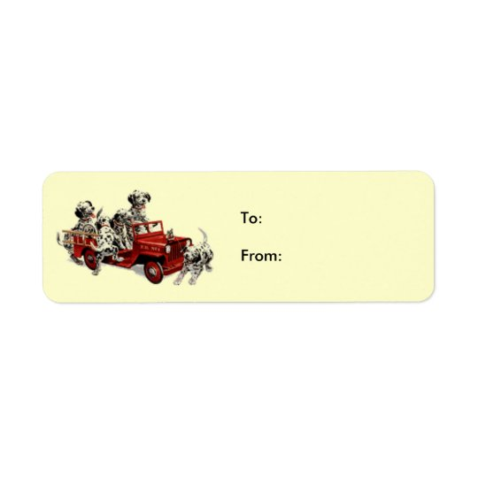 Dalmation-pups-fire-engine, To:From: Return Address Label