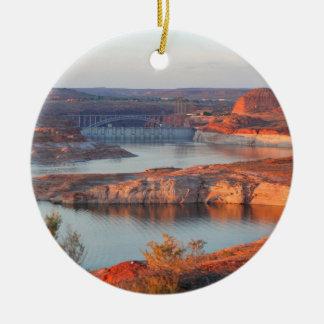 Dam and Bridge at sunrise Ceramic Ornament