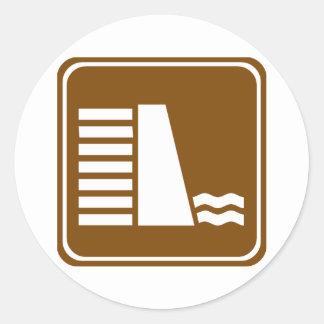 Dam or Reservoir Highway Sign Classic Round Sticker