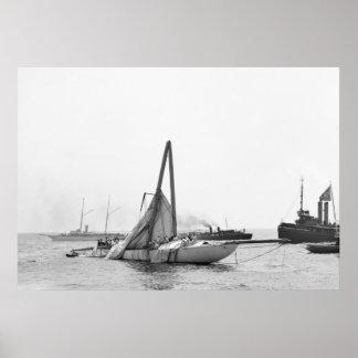 Damaged Racing Yacht, 1899 Poster