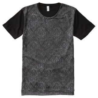 DAMASK1 BLACK MARBLE & BLACK WATERCOLOR All-Over PRINT T-Shirt
