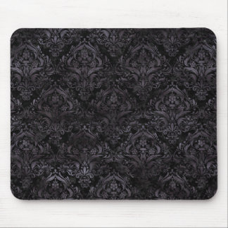 DAMASK1 BLACK MARBLE & BLACK WATERCOLOR MOUSE PAD