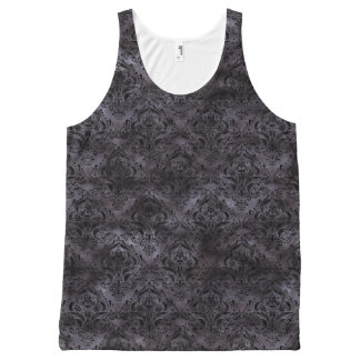 DAMASK1 BLACK MARBLE & BLACK WATERCOLOR (R) All-Over PRINT SINGLET