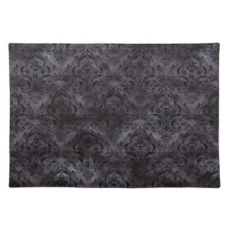 DAMASK1 BLACK MARBLE & BLACK WATERCOLOR (R) PLACEMAT