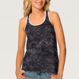 DAMASK1 BLACK MARBLE & BLACK WATERCOLOR (R) SINGLET