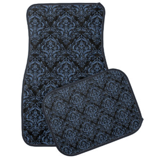 DAMASK1 BLACK MARBLE & BLUE DENIM CAR MAT