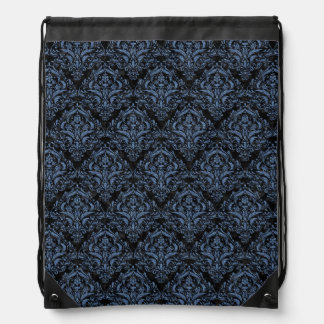 DAMASK1 BLACK MARBLE & BLUE DENIM DRAWSTRING BAG