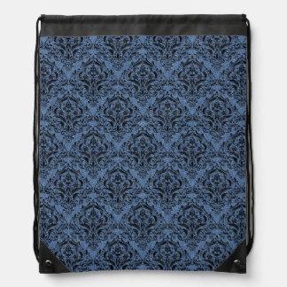 DAMASK1 BLACK MARBLE & BLUE DENIM (R) DRAWSTRING BAG