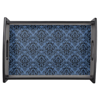 DAMASK1 BLACK MARBLE & BLUE DENIM (R) SERVING TRAY