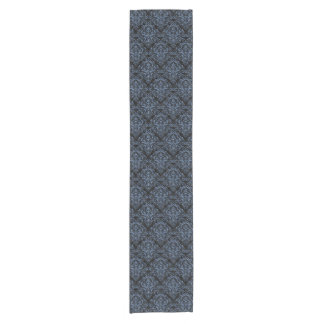 DAMASK1 BLACK MARBLE & BLUE DENIM SHORT TABLE RUNNER