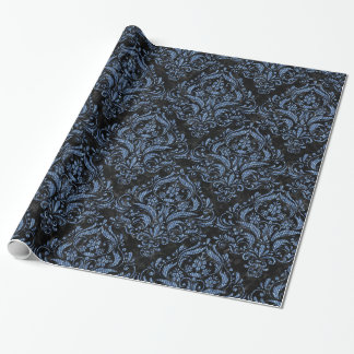 DAMASK1 BLACK MARBLE & BLUE DENIM WRAPPING PAPER