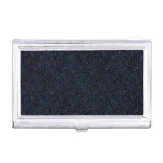 DAMASK1 BLACK MARBLE & BLUE GRUNGE BUSINESS CARD HOLDER