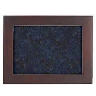 DAMASK1 BLACK MARBLE & BLUE GRUNGE KEEPSAKE BOX