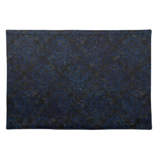 DAMASK1 BLACK MARBLE & BLUE GRUNGE PLACEMAT