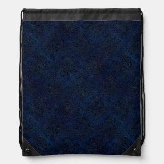 DAMASK1 BLACK MARBLE & BLUE GRUNGE (R) DRAWSTRING BAG