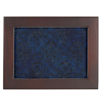 DAMASK1 BLACK MARBLE & BLUE GRUNGE (R) KEEPSAKE BOX