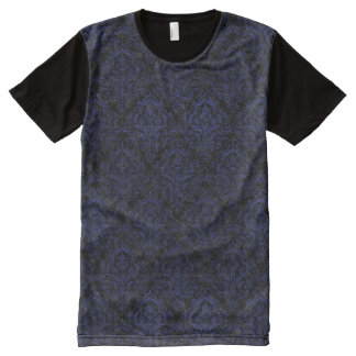 DAMASK1 BLACK MARBLE & BLUE LEATHER All-Over PRINT T-Shirt