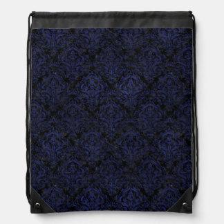 DAMASK1 BLACK MARBLE & BLUE LEATHER DRAWSTRING BAG