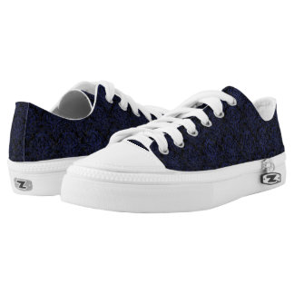 DAMASK1 BLACK MARBLE & BLUE LEATHER LOW TOPS