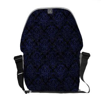 DAMASK1 BLACK MARBLE & BLUE LEATHER MESSENGER BAG