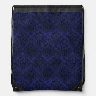 DAMASK1 BLACK MARBLE & BLUE LEATHER (R) DRAWSTRING BAG