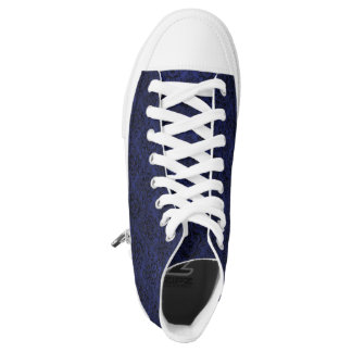 DAMASK1 BLACK MARBLE & BLUE LEATHER (R) HIGH TOPS