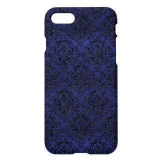 DAMASK1 BLACK MARBLE & BLUE LEATHER (R) iPhone 8/7 CASE