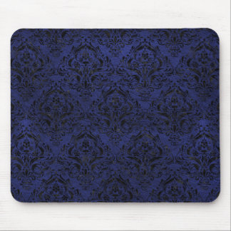 DAMASK1 BLACK MARBLE & BLUE LEATHER (R) MOUSE PAD