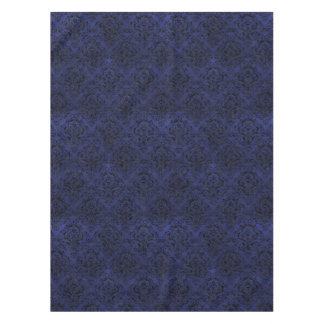 DAMASK1 BLACK MARBLE & BLUE LEATHER (R) TABLECLOTH