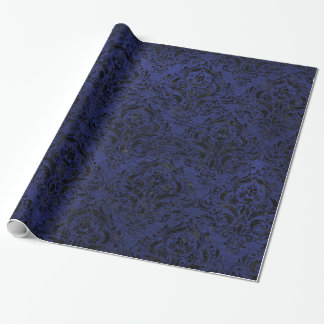 DAMASK1 BLACK MARBLE & BLUE LEATHER (R) WRAPPING PAPER