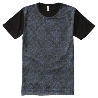 DAMASK1 BLACK MARBLE & BLUE STONE All-Over PRINT T-Shirt