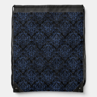 DAMASK1 BLACK MARBLE & BLUE STONE DRAWSTRING BAG