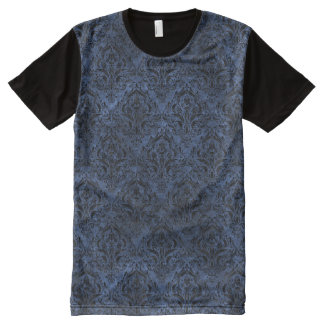 DAMASK1 BLACK MARBLE & BLUE STONE (R) All-Over PRINT T-Shirt