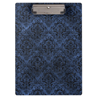 DAMASK1 BLACK MARBLE & BLUE STONE (R) CLIPBOARD