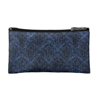 DAMASK1 BLACK MARBLE & BLUE STONE (R) COSMETIC BAGS