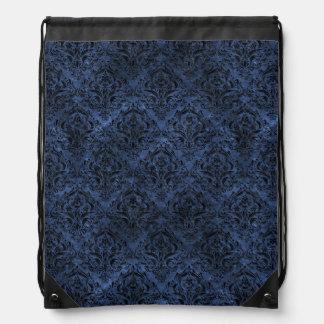 DAMASK1 BLACK MARBLE & BLUE STONE (R) DRAWSTRING BAG