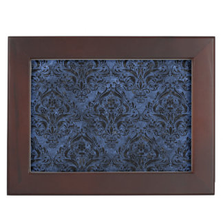 DAMASK1 BLACK MARBLE & BLUE STONE (R) KEEPSAKE BOX