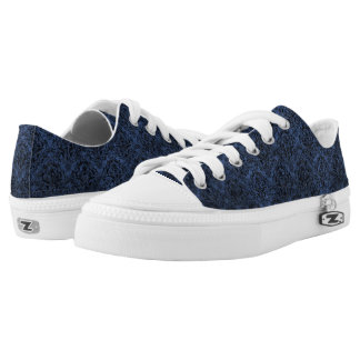 DAMASK1 BLACK MARBLE & BLUE STONE (R) LOW TOPS