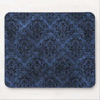 DAMASK1 BLACK MARBLE & BLUE STONE (R) MOUSE PAD