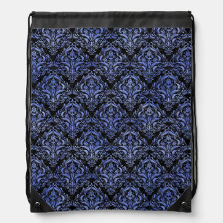 DAMASK1 BLACK MARBLE & BLUE WATERCOLOR DRAWSTRING BAG