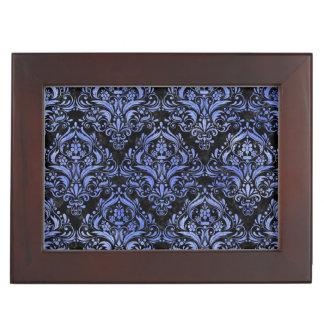 DAMASK1 BLACK MARBLE & BLUE WATERCOLOR KEEPSAKE BOX