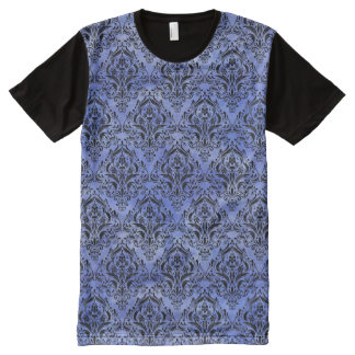 DAMASK1 BLACK MARBLE & BLUE WATERCOLOR (R) All-Over PRINT T-Shirt