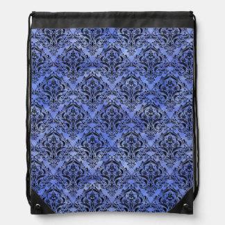 DAMASK1 BLACK MARBLE & BLUE WATERCOLOR (R) DRAWSTRING BAG