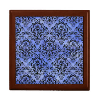 DAMASK1 BLACK MARBLE & BLUE WATERCOLOR (R) GIFT BOX