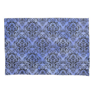 DAMASK1 BLACK MARBLE & BLUE WATERCOLOR (R) PILLOWCASE