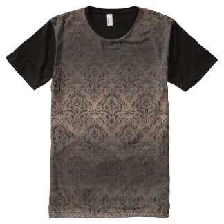 DAMASK1 BLACK MARBLE & BRONZE METAL (R) All-Over PRINT T-Shirt