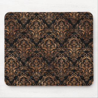 DAMASK1 BLACK MARBLE & BROWN STONE MOUSE PAD
