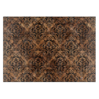 DAMASK1 BLACK MARBLE & BROWN STONE (R) CUTTING BOARD