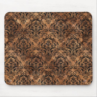 DAMASK1 BLACK MARBLE & BROWN STONE (R) MOUSE PAD