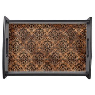 DAMASK1 BLACK MARBLE & BROWN STONE (R) SERVING TRAY